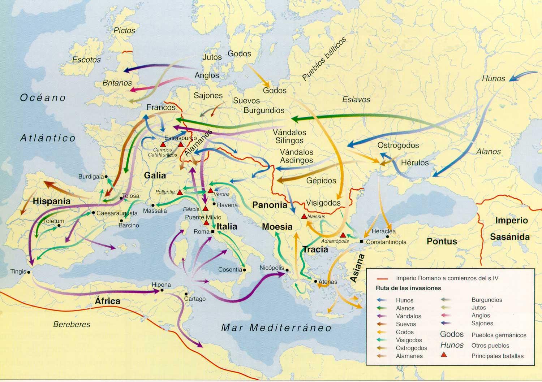 Invasiones De Los Germanos: Mapa